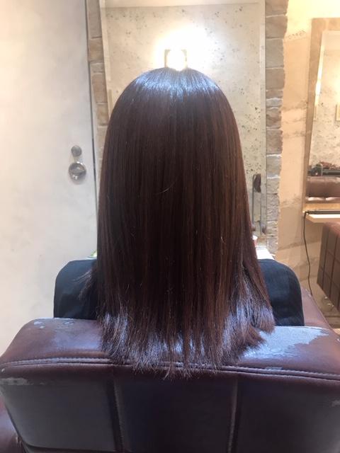 髪質改善トリートメント(2回目)の施術直後