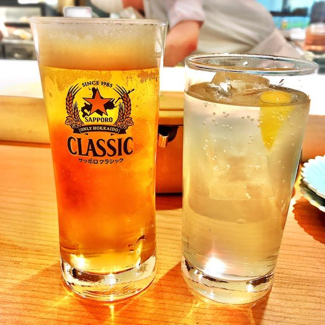 ビールとレモンサワーで乾杯!