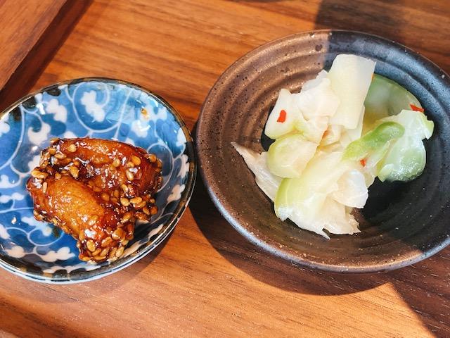 日比谷「TexturA」タパス:蓮根の黒酢和えと搾菜