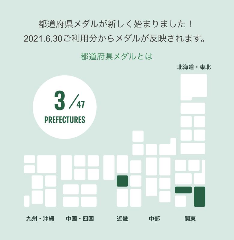 マイストアパスポート:都道府県メダルの進捗