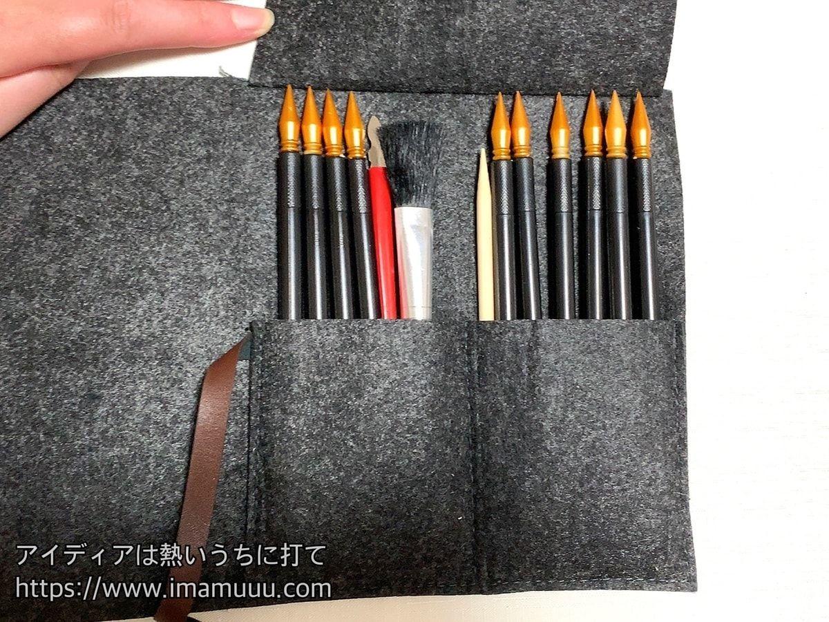 スクラッチペン10本とスクレーパー、ソフトブラシ、竹串、収納バックのセット