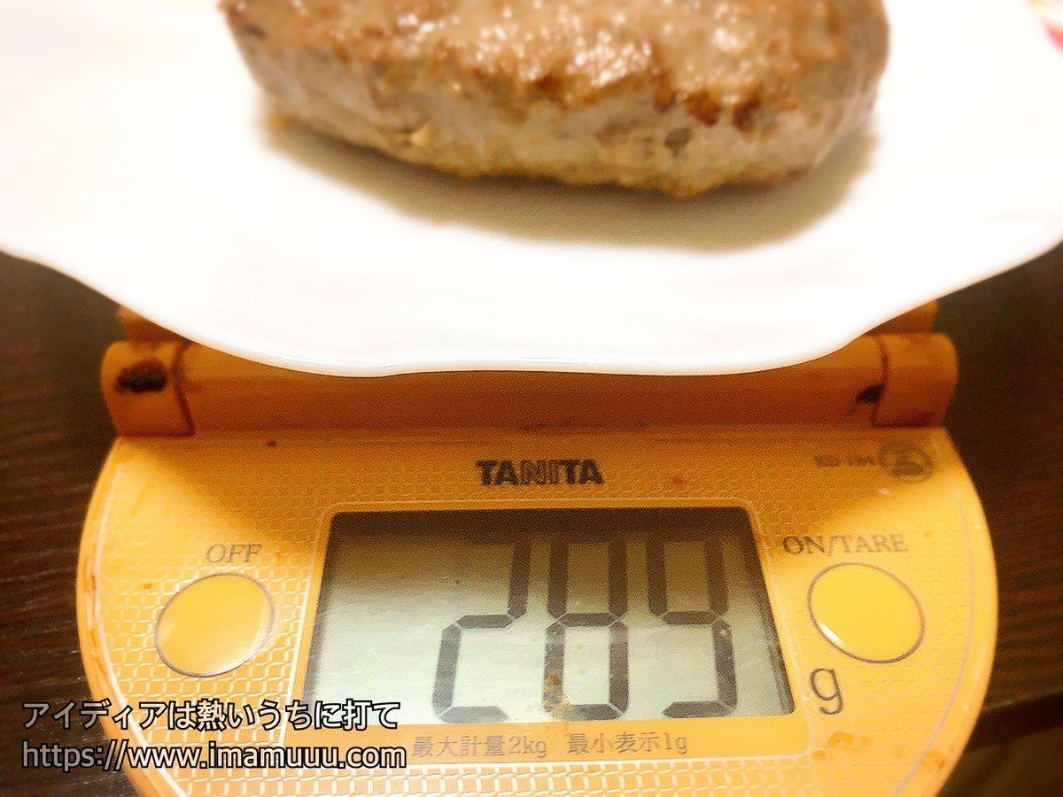 ワイルドハンバーグの重さを量ってみたら289gあった