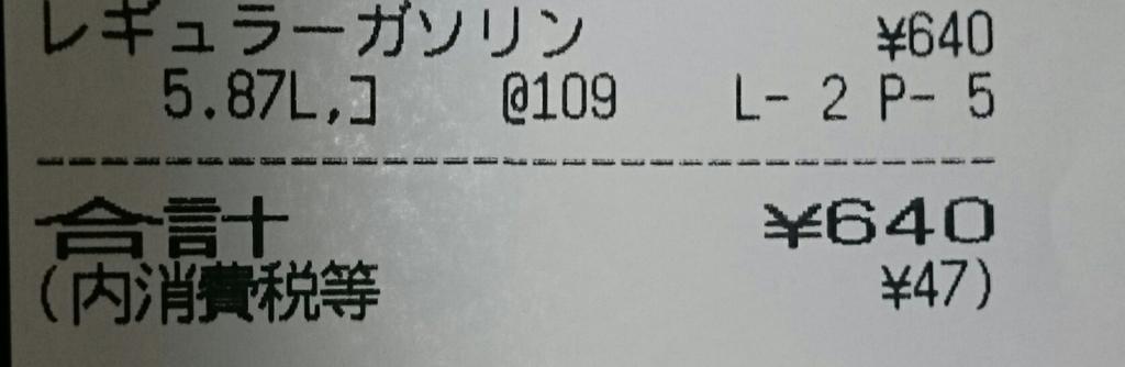 レギュラーガソリン1L=109円
