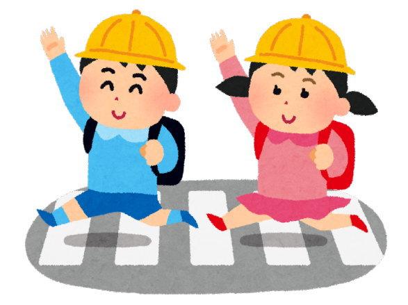 信号のない横断歩道を渡る子供は要注意。あとから、飛び出してくることも