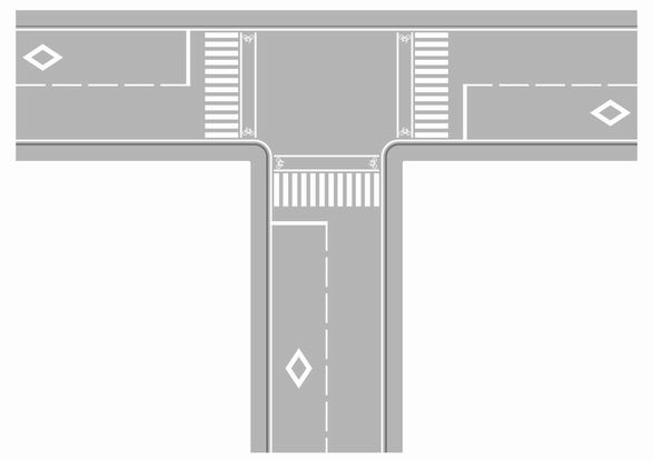 横断歩道の前には、ひし形(ダイヤ)マークがあります