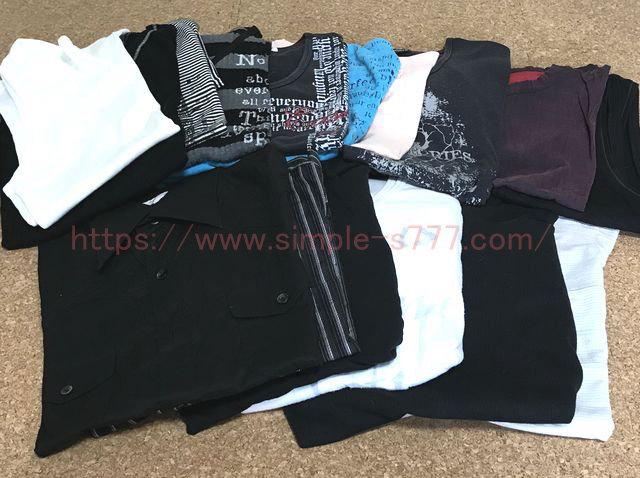片付け&収納の結果、捨てる服(トップスとパンツ)は、こんなにたくさんありました