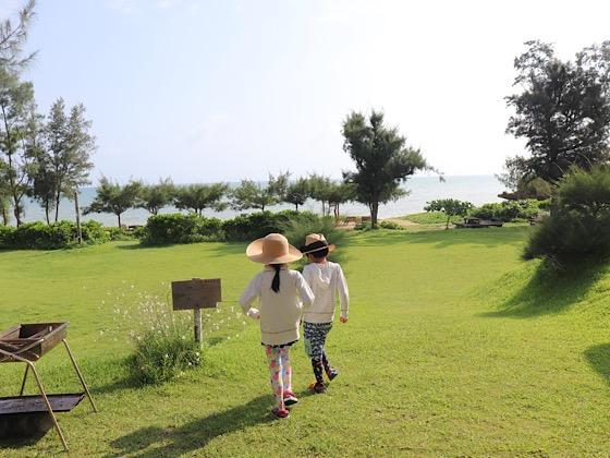 ペンションパパラギ王国プライベートビーチ芝生