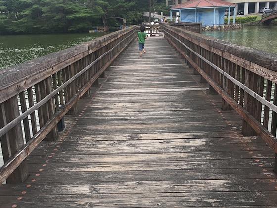 岡山県大芦高原大芦池の橋