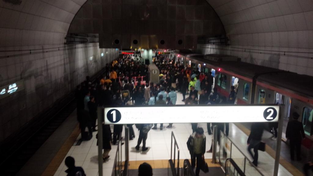 S-TRAIN 出発式前の元町・中華街駅