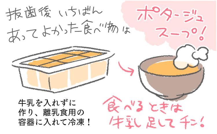 抜歯 親知らず レポ 漫画 ブログ 体験談 歯 抜く 抜いた後 食事 スープ 栄養 ポタージュ