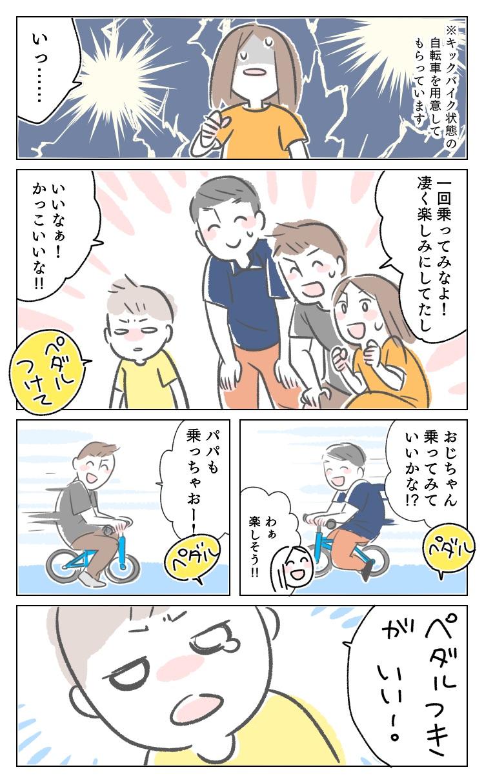 イラスト 漫画 レポ レポ漫画 体験 初めて 自転車 はじめて 4歳 キックバイク ZIT ライトウェイ 軽い 軽量 子供 幼児 幼稚園 園児 子供用自転車
