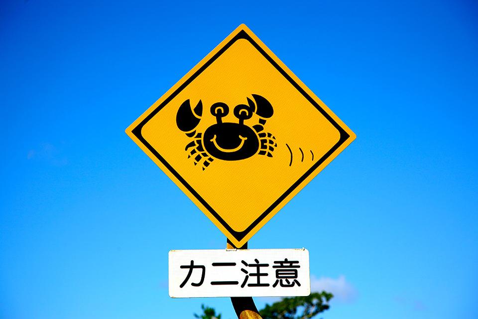 沖縄の道路にはカニ注意の標識がある
