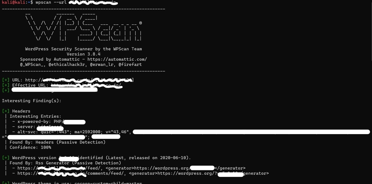 WPScanでサイト全体をスキャンしたスクショ