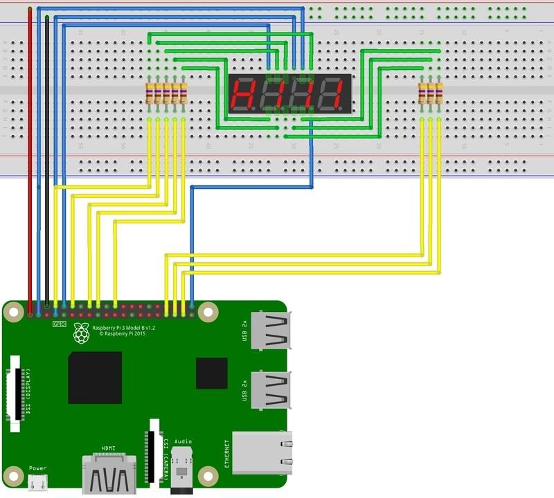 ラズパイ 7セグLED 4桁 4digit 回路図