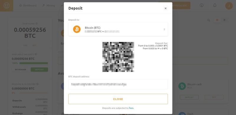 NiceHash deposit address 確認方法