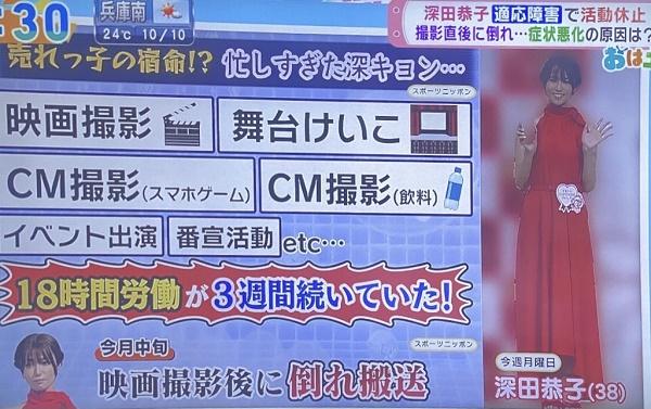 深田恭子 適応障害 18時間労働