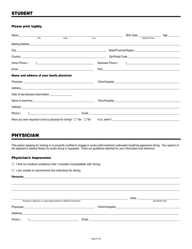 お願いする書類3 PADI病歴・診断書 - マレーシアのダイビング ...