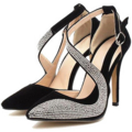 [fashion]Manolo Blahnik Black Rhinestone Heeled Sandals