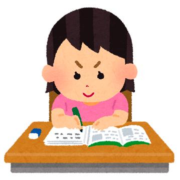 宿題・勉強をする女の子のイラスト
