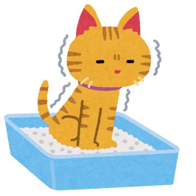 猫が猫トイレでおしっこするイラスト