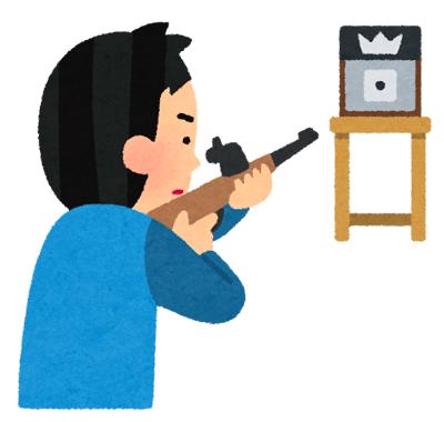 標的に狙いを定める狙撃手のイラスト