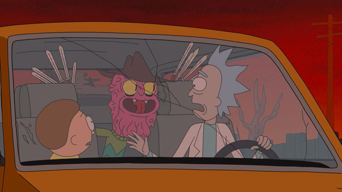 『リック・アンド・モーティ』で、エルム街の怪物がリックとモーティを車内で襲う