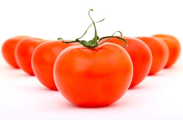 Vの字に並んだ赤いトマト