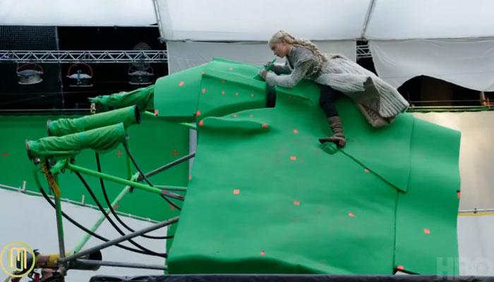 『ゲーム・オブ・スローンズ』でのドラゴンに乗る場面のクロマキー合成