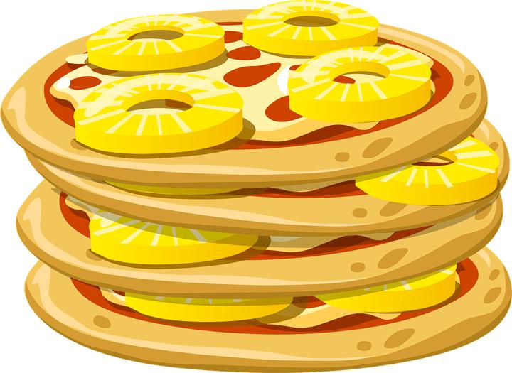 パイナップルをトッピングした多段重ねのピザ
