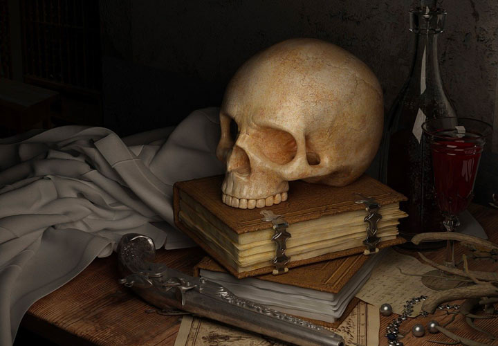 本の上に積まれた髑髏
