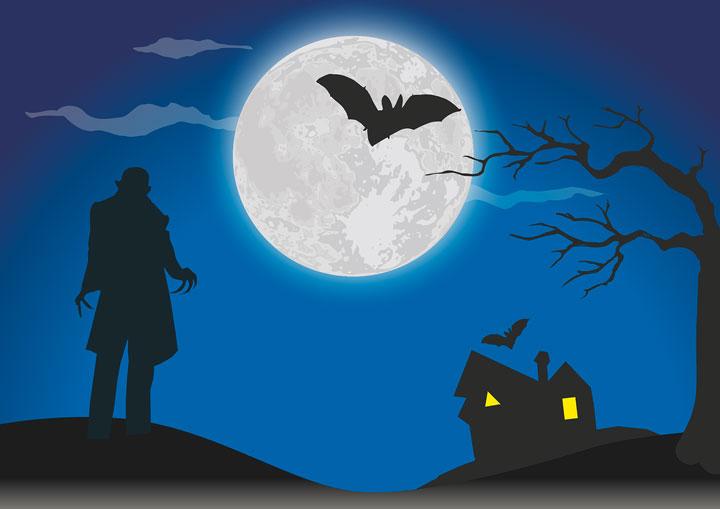 満月の夜にコウモリと吸血鬼がうごめく