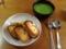 チーズオムレツとパセリポタージュ