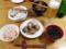 鰤白子ソテーと卵煮付、鮭ご飯、アオサと三つ葉の吸物