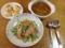 ビワマススモークのサラダパスタとコンソメスープ
