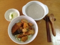 昨日の串カツの丼とキノコのポタージュ