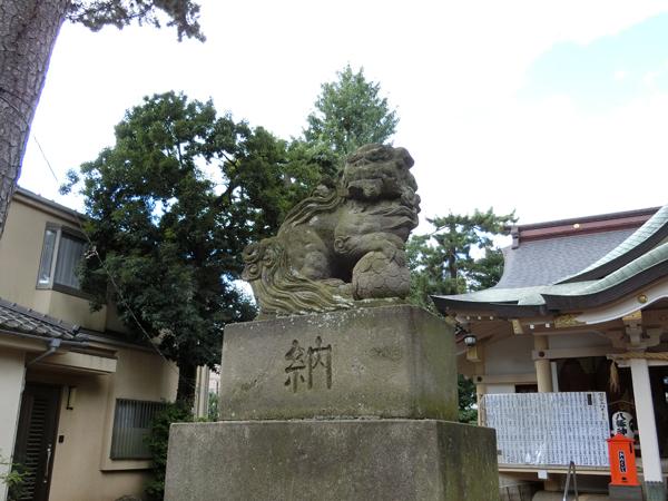 天沼八幡神社の左の狛犬