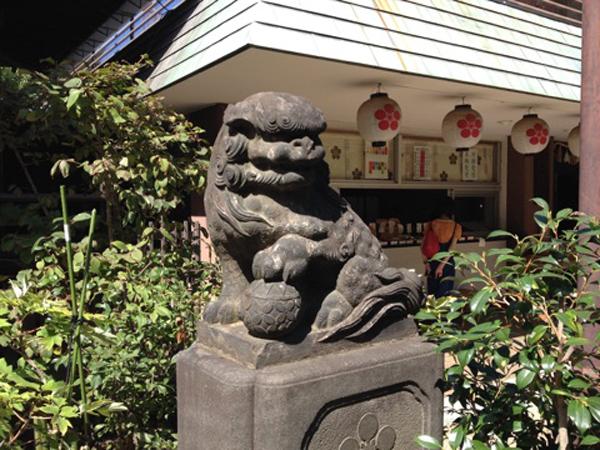 新井天神北野神社の右の狛犬