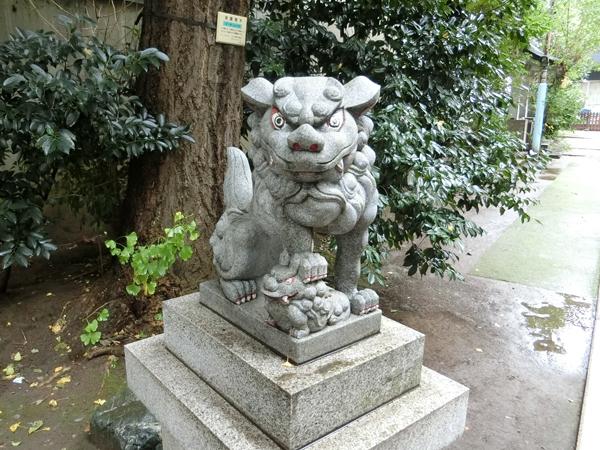 銀杏岡八幡神社の左の狛犬