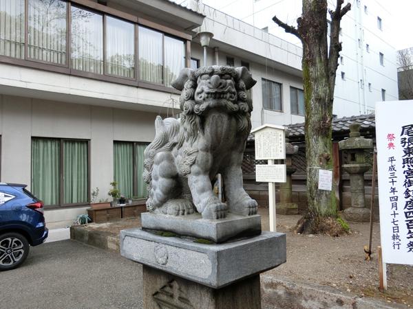 名古屋東照宮の左の狛犬