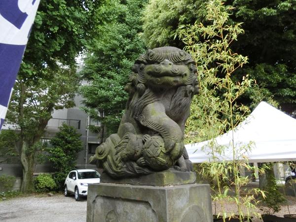 上神明天祖神社の左の狛犬
