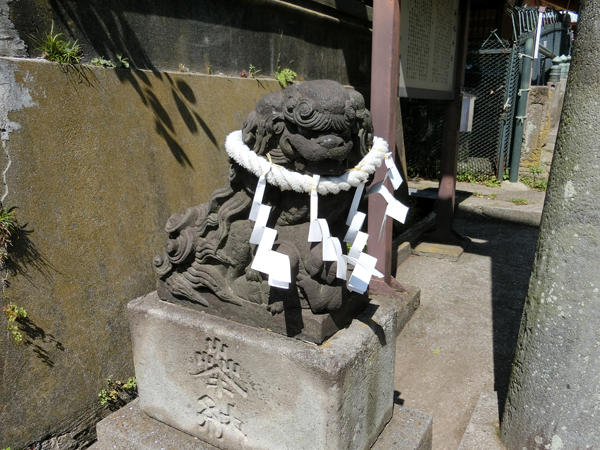 海南神社の左の狛犬