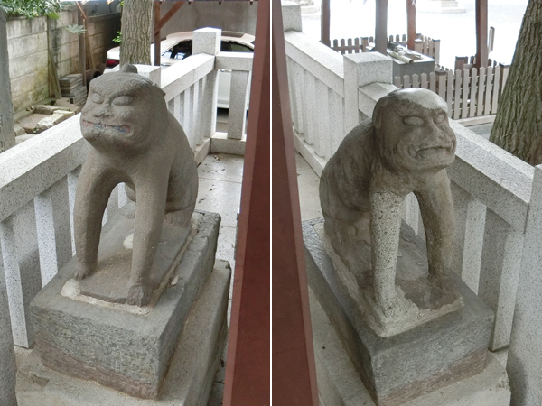 鎧神社の狛犬型庚申塔
