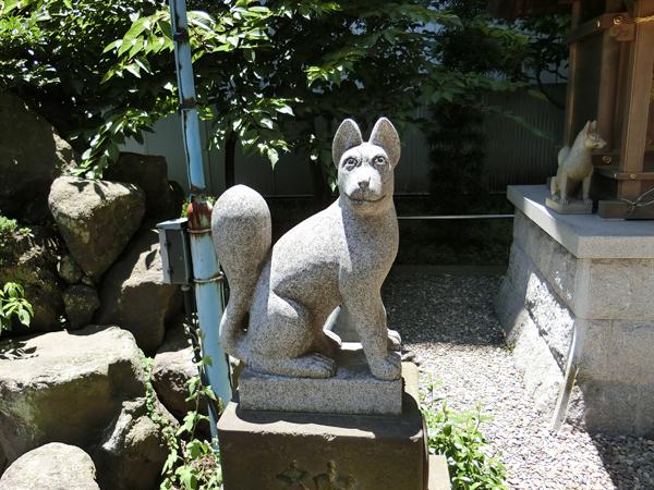 羽衣町厳島神社内の豊受稲荷神社にいる左の狐
