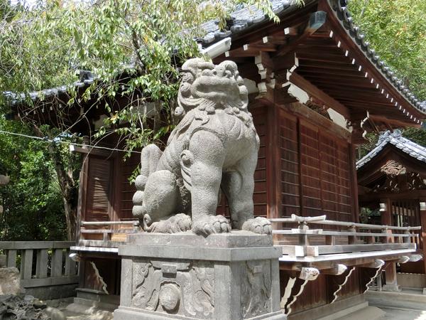 牛嶋神社の左の狛犬