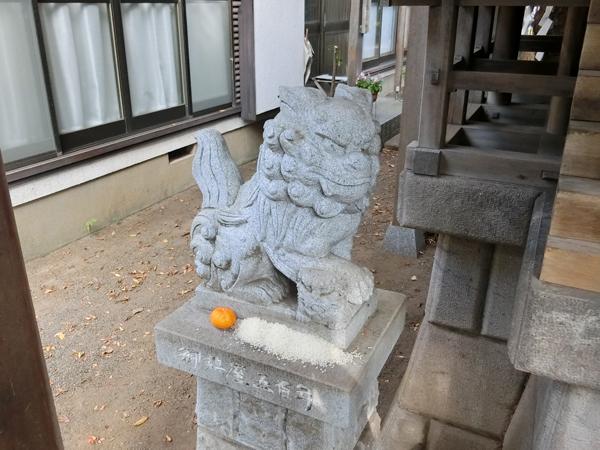 金山彦神社の左の狛犬