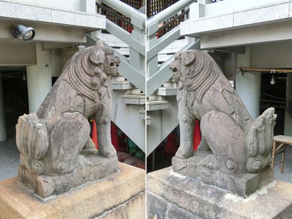 白神社の被爆した狛犬