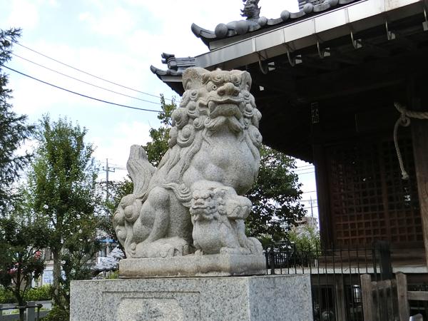 新城神社の左の狛犬