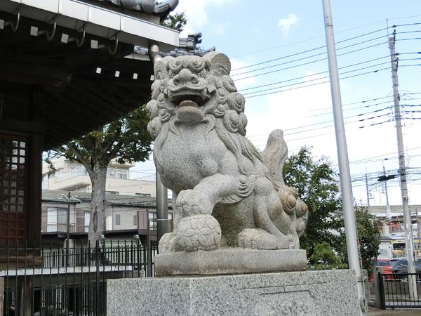 新城神社の右の狛犬