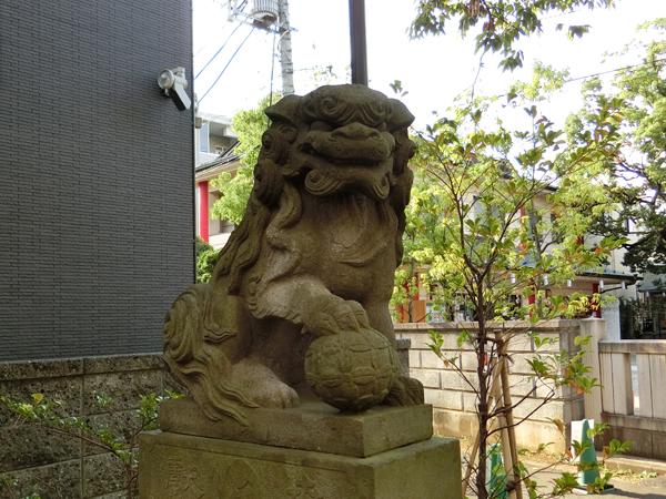 溝口神社の左の狛犬