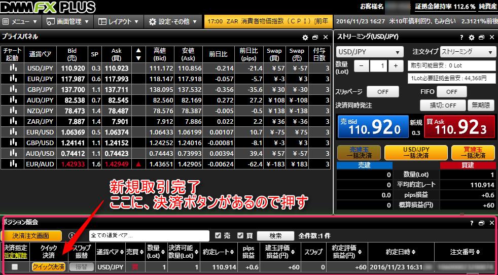 DMM FXポジション画面